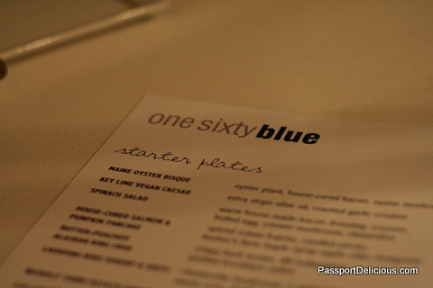one sixtyblue menu