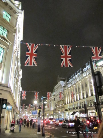 Oxford Street Bunting at Night