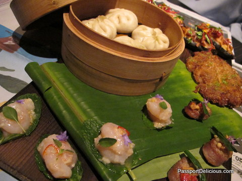 Roasted banana, prawn cake, sweet shrimp, fermented sausage, steamed bun